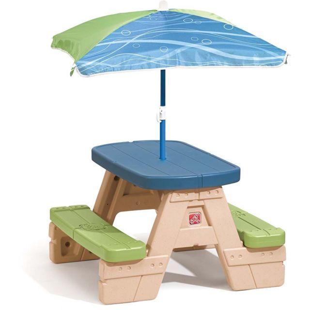 STEP 2 Table de pique-nique en plastique pour enfants avec parasol
