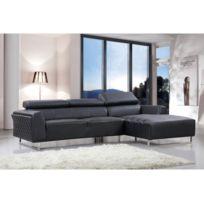HABITAT ET JARDIN - Canapé d'angle cuir reconstitué/PVC Broadway - 4 places - Noir - Angle droit