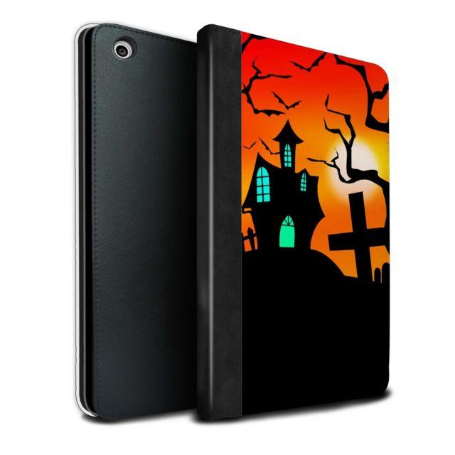 Coque Housse De Livre Cuir Pu Case Pour Apple Ipad Mini 1 2 3 Tablette Maison Hantee Design Scene Halloween Collection
