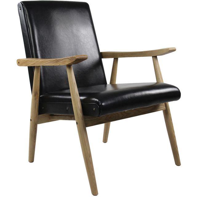 ZAGO - Fauteuil vintage aspect cuir Alfred