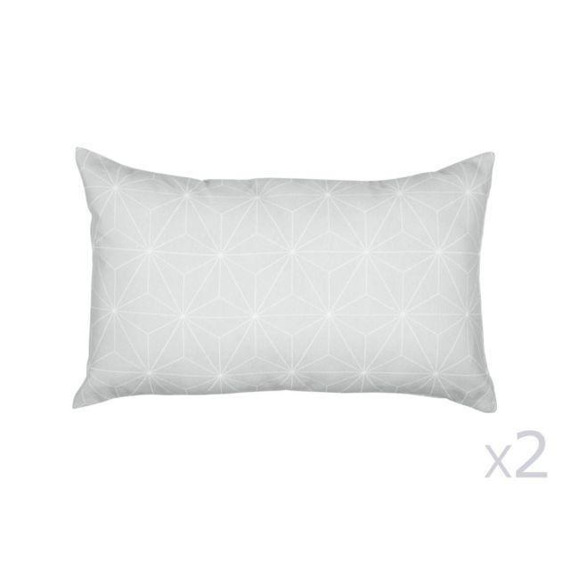 Urban Living - Lot de 2 coussins déhoussables en coton 30x50cm motif étoile nordique Gris et blanc Stjerne 0cm x 0cm