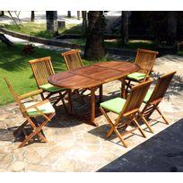 Wood-en-Stock - Salon en teck pour jardin 6 chaises et fauteuils