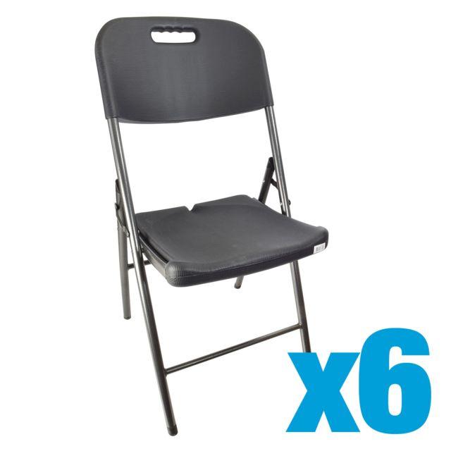 Lot de 6 Chaise pliante style bois noir - L 48.5 x l 45 x H 83.8 cm - 962334