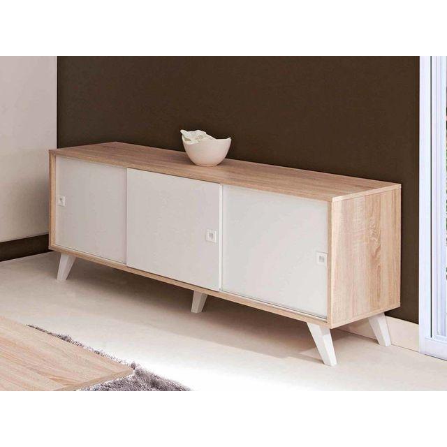 buffet bas blanc. Black Bedroom Furniture Sets. Home Design Ideas