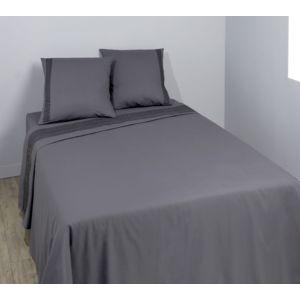 tex home parure geofrise drap plat drap housse 2 taies d 39 oreiller en coton gris fonc. Black Bedroom Furniture Sets. Home Design Ideas