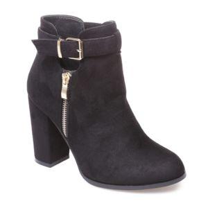 La Modeuse Bottines ajourées noires avec zips Noir - Chaussures Bottine Femme
