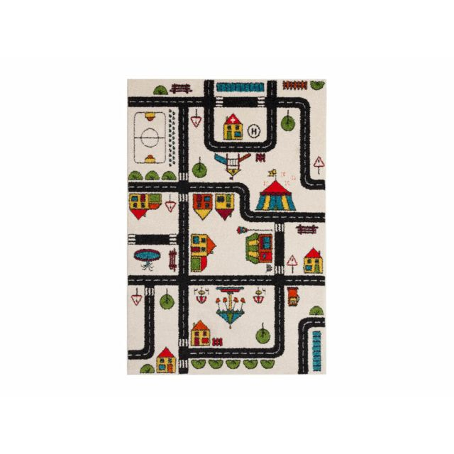 dlm tapis enfant effet laineux motif circuit de voiture 120x170cm bill pas cher achat. Black Bedroom Furniture Sets. Home Design Ideas