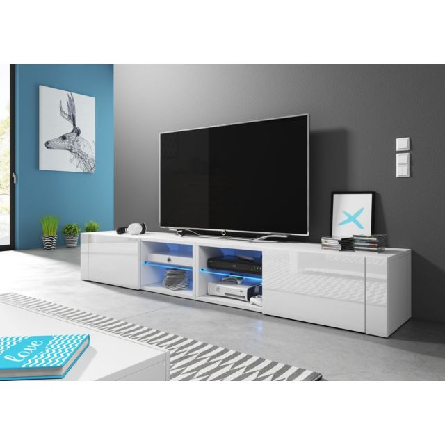 Vivaldi Hit 2 double Meuble Tv Design blanc mat avec blanc brillant. Eclairage à la Led bleue