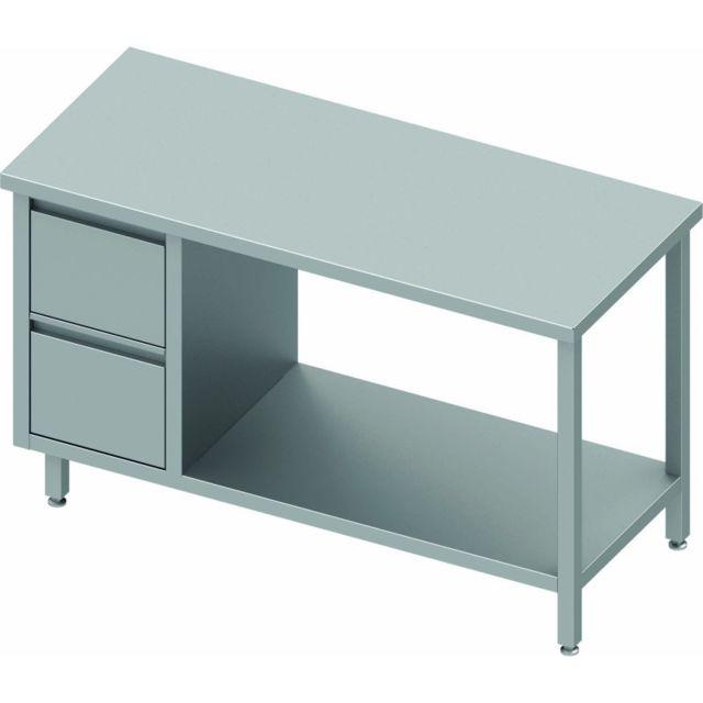 Materiel Chr Pro Table Inox Avec Tiroir & Etagère à Droite - Sans Dosseret - Gamme 800 - Stalgast - inox 800x800 800