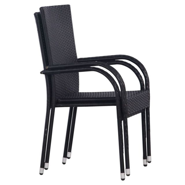 Chaises empilables d'extérieur 2 pcs Résine tressée Noir