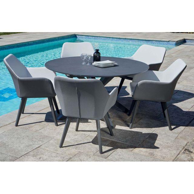 IMAGIN - Salon de jardin table ronde + 5 fauteuils Provence ...