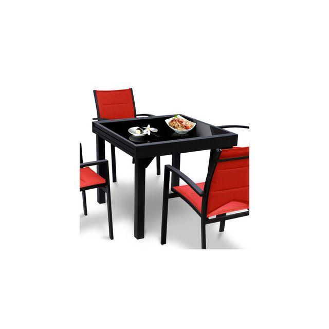 Alpina - Table de jardin carrée extensible Aluminium 90 ...