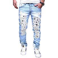 Justing - Jeans homme slim déchiré Jeans 1118 bleu