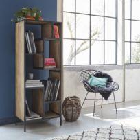 Made In Meubles - Bibliothèque industrielle asymétrique bois et métal   B55