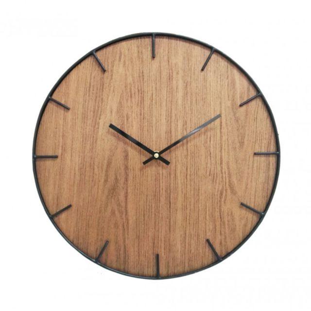 Mobili Rebecca Pendules Horloge Murales Decor Mdf Marron Noir Salon Ø 40 cm