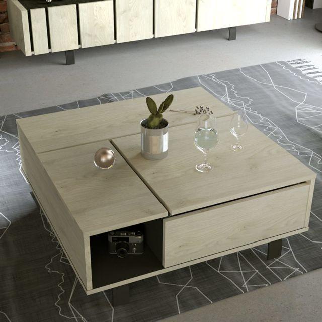 Kasalinea Table de salon relevable industrielle couleur bois et effet béton Jeffrey