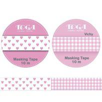 Autre - Voici un kit de 2 masking tapes : Masking tape vichy rose et Masking tape curs rose repositionnables - Longueur 10 m