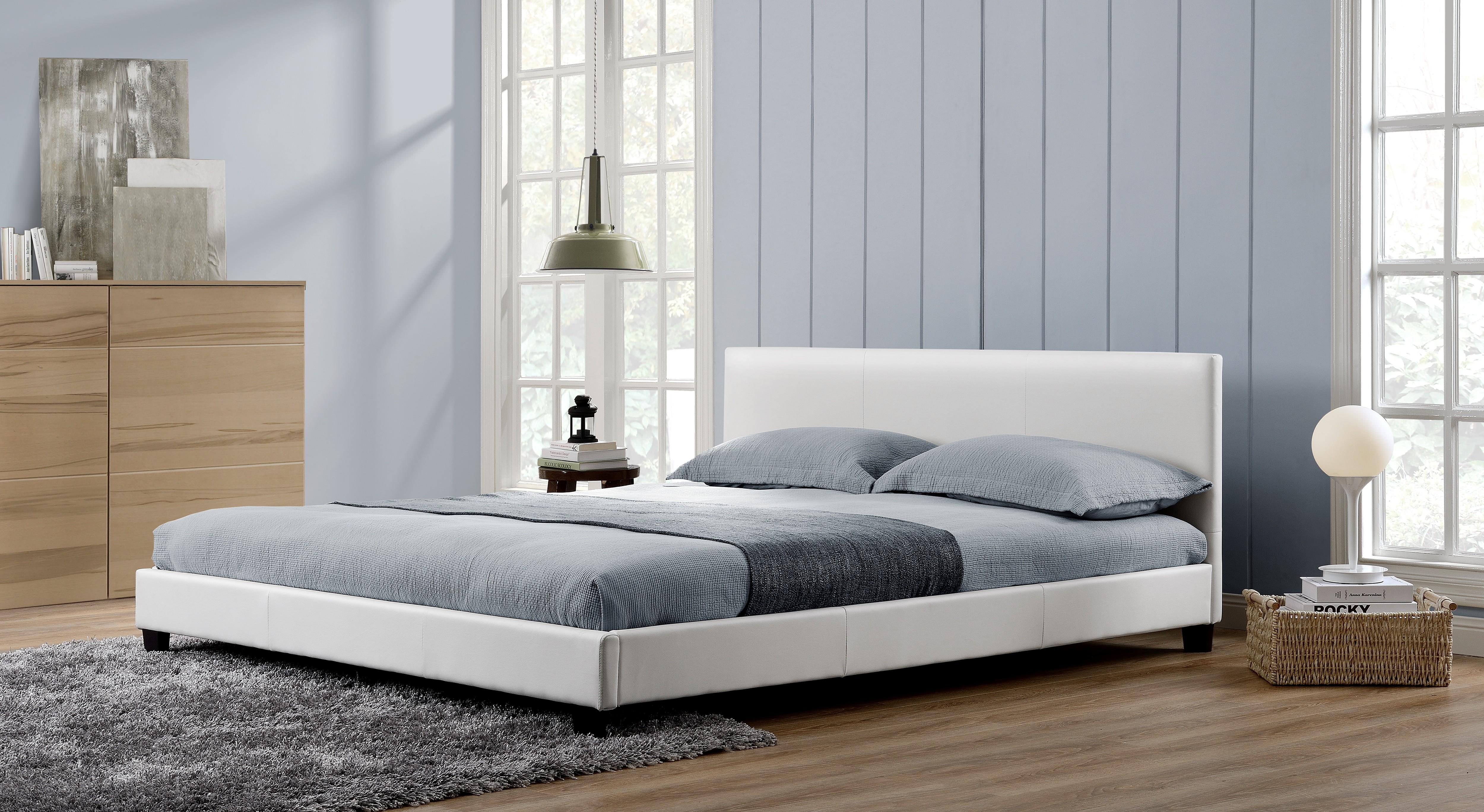 Lit Oxford 140x190cm - Cadre de lit en simili cuir Blanc
