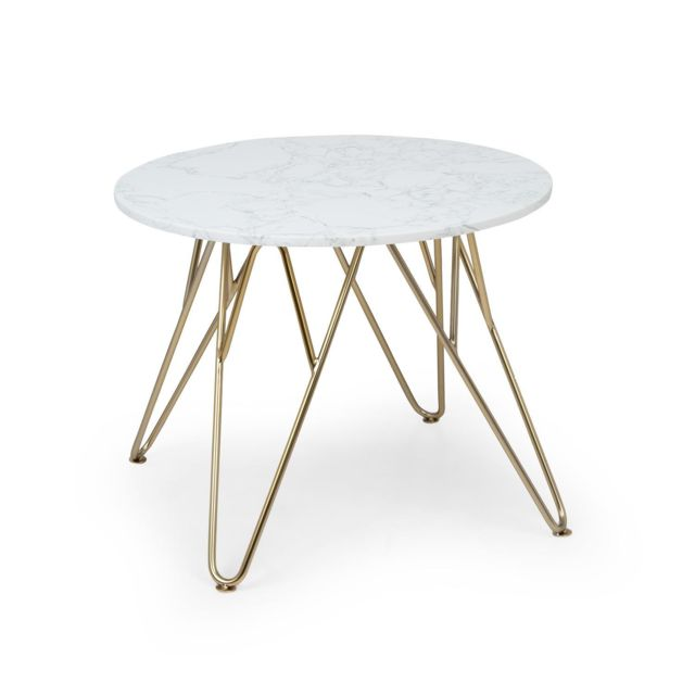 BESOA Round Pearl Table basse de salon ronde 55 x 45 cm ØxH Design marbre doré & blanc