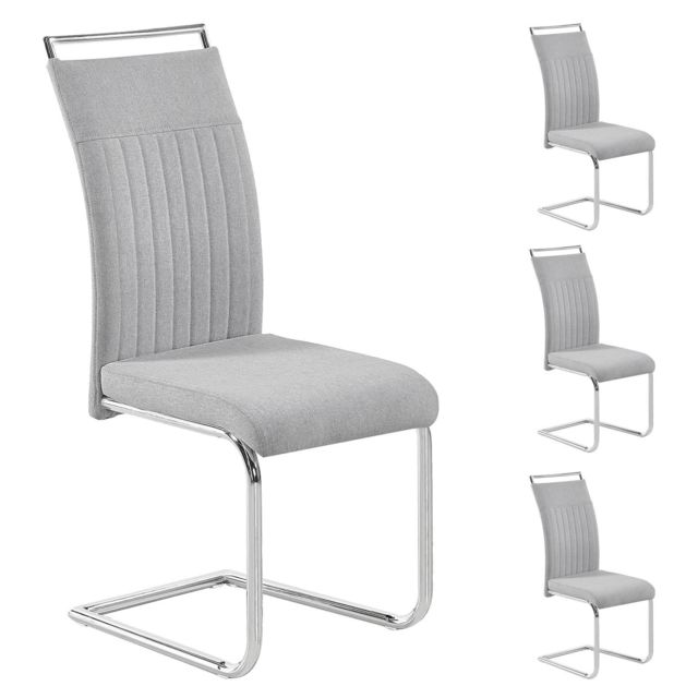 Lot de 4 chaises de salle à manger ou cuisine ERICA avec assise rembourrée poignée et piètement chromé, revêtement tissu gris clair