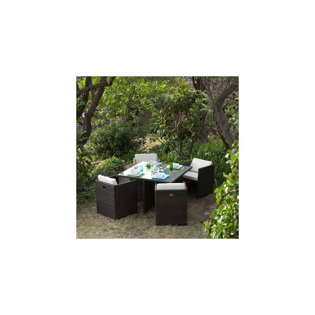 GreenPath - Salon jardin Résine tressée 4 places : Table 120x120cm + ...