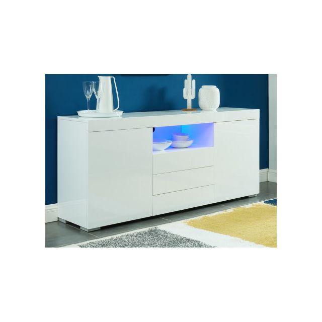 VENTE-UNIQUE Buffet MERCURE - MDF laqué blanc - LEDs - 2 portes & 3 tiroirs