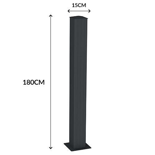 emalu pilier renforc avec chapeau et platine visser 180 cm gris ral7016 pas cher achat. Black Bedroom Furniture Sets. Home Design Ideas