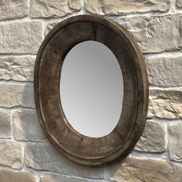Chemin De Campagne Miroir Fenêtre Oeil de Boeuf Bois Ovale 82 cm x 70 cm