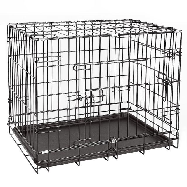Ltppstore Cage de transport en métal pliante pour chien 91 x 58 x 64 cm Noir