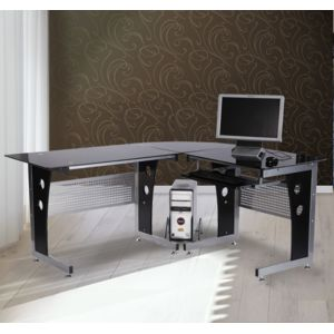HOMCOM Bureau dinformatique angle pour ordinateur meuble table