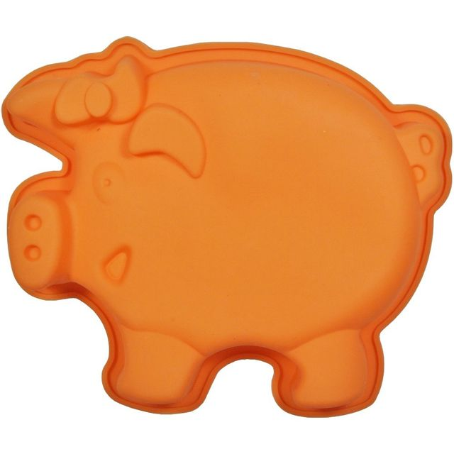 Promobo Moule à Gateau en silicone Cochon Forme Ludique Animal Orange