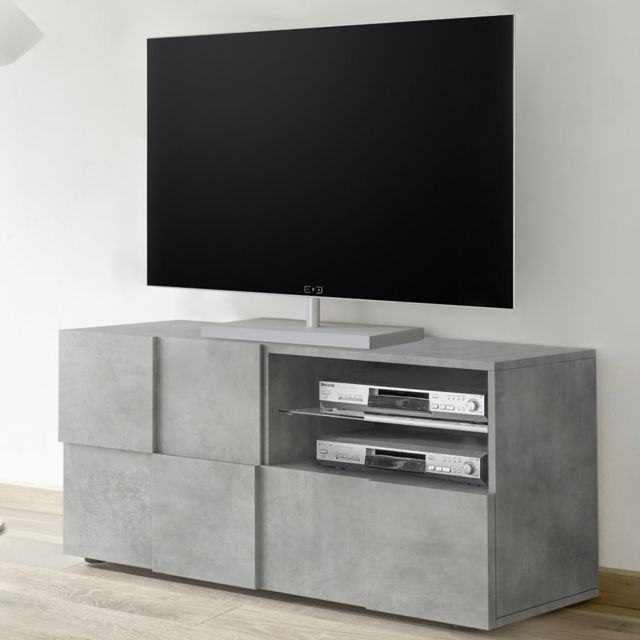 Sofamobili Meuble Tv 120 cm design gris effet béton Artic 4
