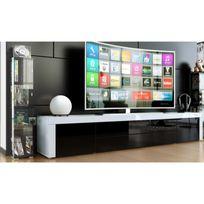 Mpc - meuble tv bas laqué blanc / noir