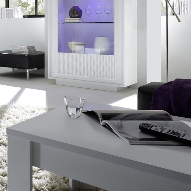 Sofamobili Table basse blanc laqué mat design Burton