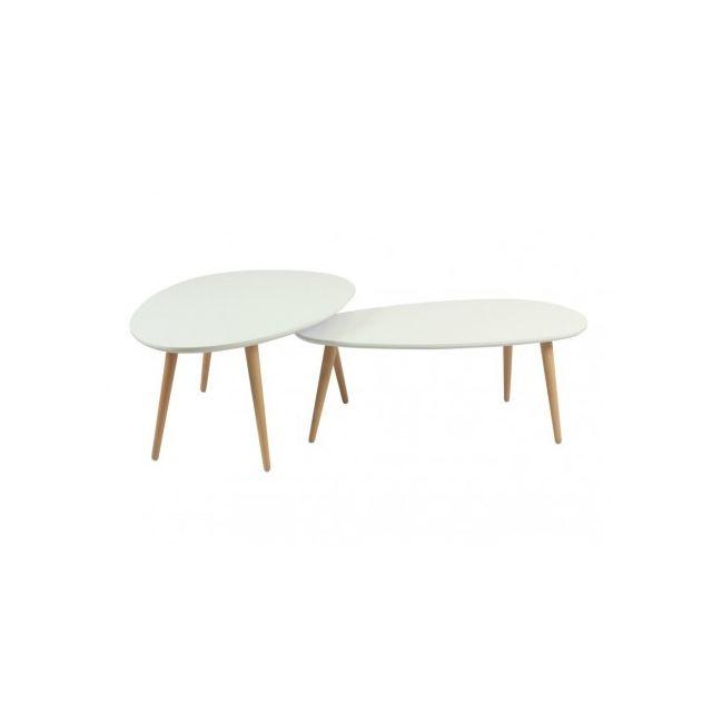 Marque Generique Tables basses gigognes Pamy - Mdf laqué & hêtre massif - Coloris blanc