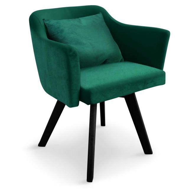 menzzo chaise fauteuil scandinave dantes velours vert - Chaise Fauteuil Scandinave