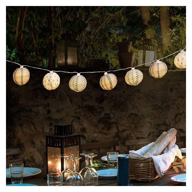 Totalcadeau Guirlande en papier avec lumière Led - Lampe et décoration exterieur