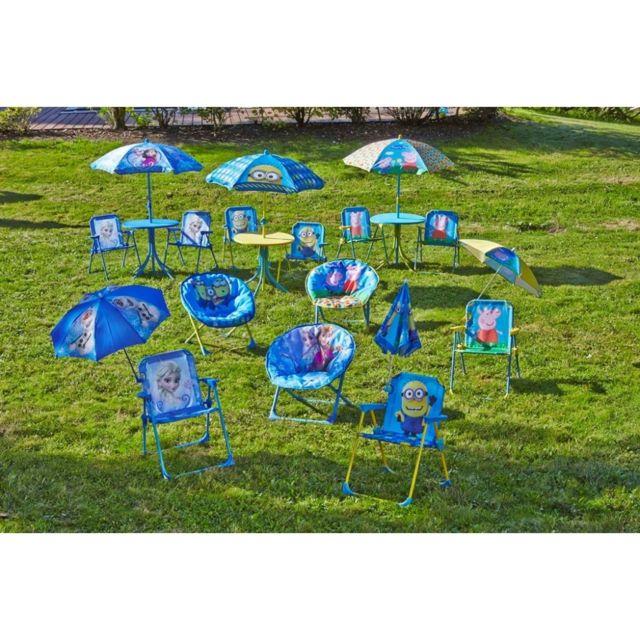 Chaise Minion avec parasol. Structure en tissu polyester, armature tubes acier laqué dim14mm, pieds plastiques polyéthyl