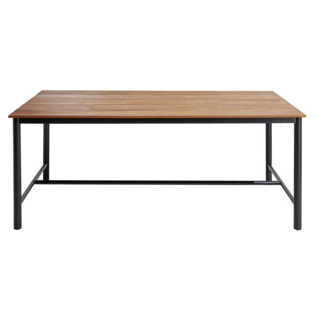 CARREFOUR - Table de jardin INDUS - Métal et bois - Marron ...