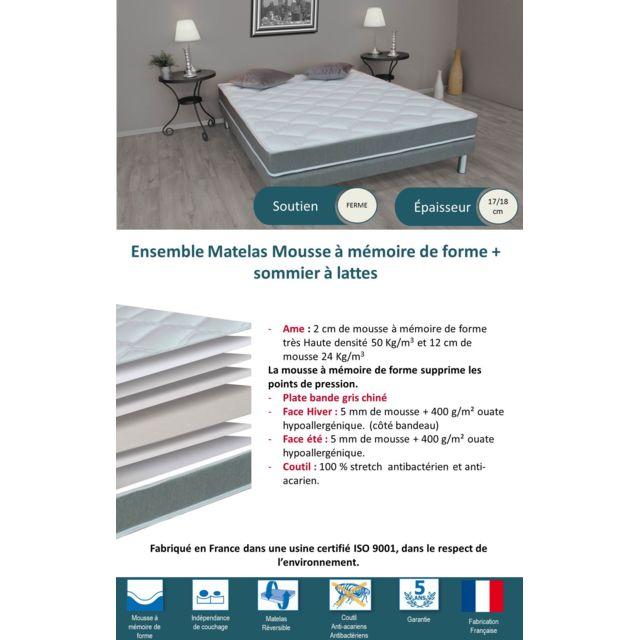 LOVEA - Ensemble Matelas Mémoire de forme HD + Sommier 90x190 - Accueil moelleux ; Soutien ferme - Fabriqué en France BLANC