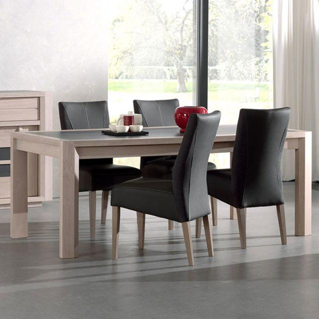Nouvomeuble Table moderne couleur bois clair et gris foncé Cassandre