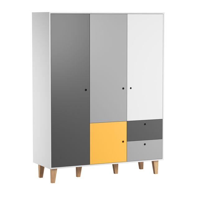 Vox Armoire 3 portes Concept - Jaune