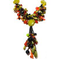 Collection Zanzybar - Collier sautoir en perles de pierres naturelles jade, cornaline et onix les Cornalines jade, cornaline et onix