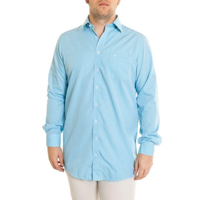 &TRADITION Chemise à petits carreaux turquoise manches extra longues