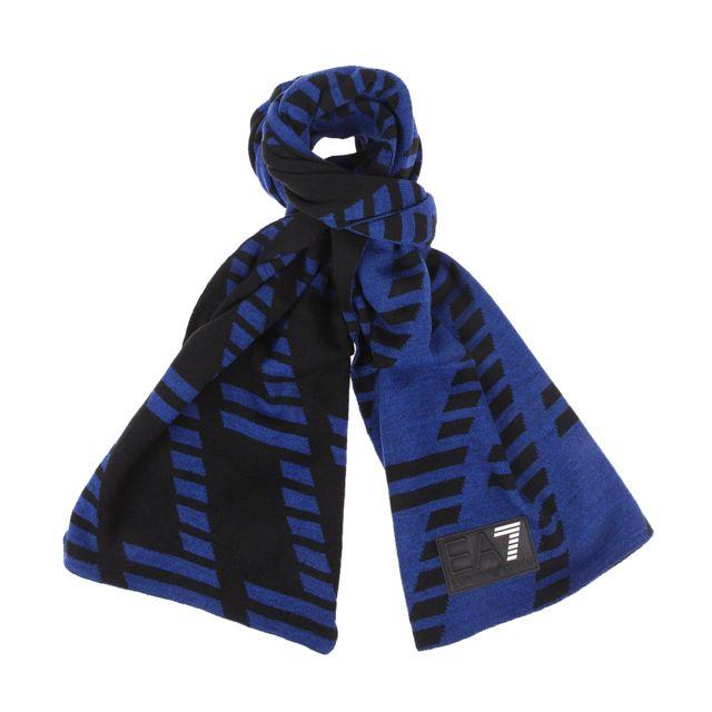 Armani Ea7 Echarpe réversible Ea7 bleu électrique et noire, monogrammée de  7