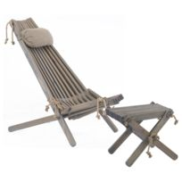 Ecofurn chilienne scandinave avec repose pieds pin gris pas cher achat vente transats - Chilienne avec repose pied ...