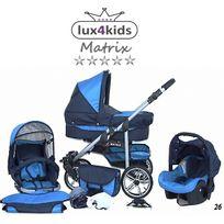 LUX4KIDS - Matrix II VIP Poussette Combinée 3 en 1 Roues pivotantes Nacelle Siège Auto Poussette Canne 26 bleu marine & turquoise