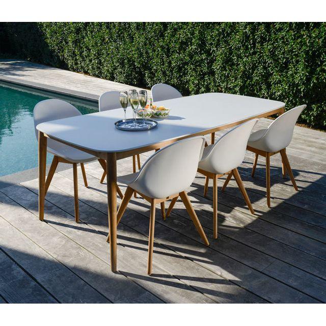 Gecko Jardin Table en teck et Duranite® blanc 213 x 100 cm Kimito