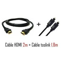 Cabling - Pack cable toslink 1,8m + Câble Hdmi V1.3 plaqués Or Full Hd Full 1080P Hdtv Plasma Lcd Ps3 Xbox 360 dvd Player