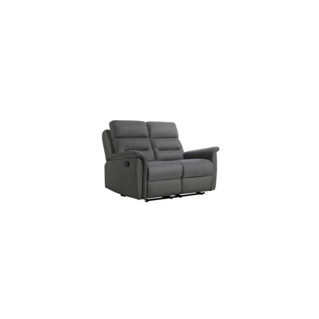 Sans Marque Napa Canape Relaxation Manuel 2 Places - Simili Gris Microfibre Grise - L 154 X P 98 X H 99 Cm